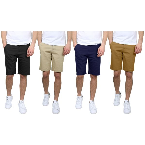 Men's 5-Pocket Flat-Front Stretch Chino Shorts - 3 Pack-Daily Steals