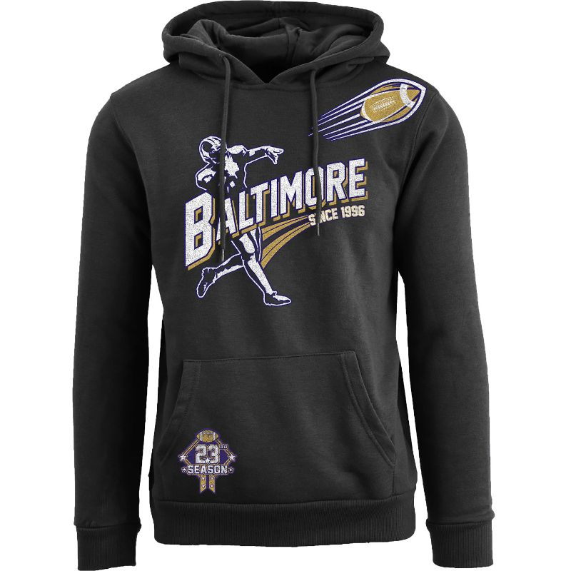 Men's Ballers Football Pull Over Hoodie-Baltimore - Black-S-Daily Steals