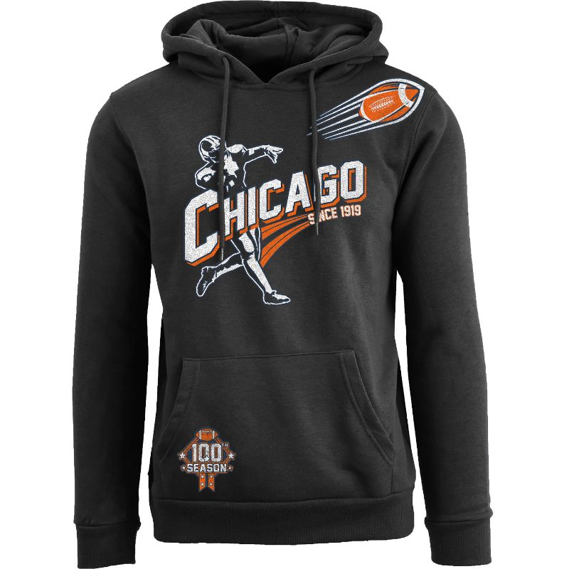 Men's Ballers Football Pull Over Hoodie-Chicago - Black-L-Daily Steals