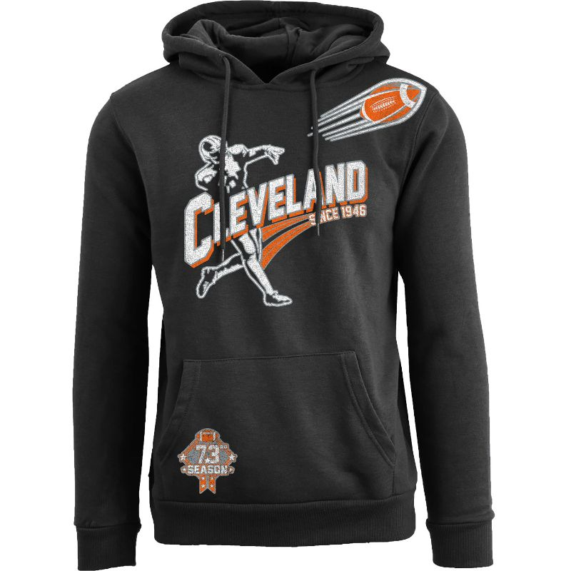Men's Ballers Football Pull Over Hoodie-Cleveland - Black-S-Daily Steals