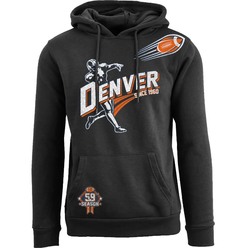 Men's Ballers Football Pull Over Hoodie-Denver - Black-S-Daily Steals
