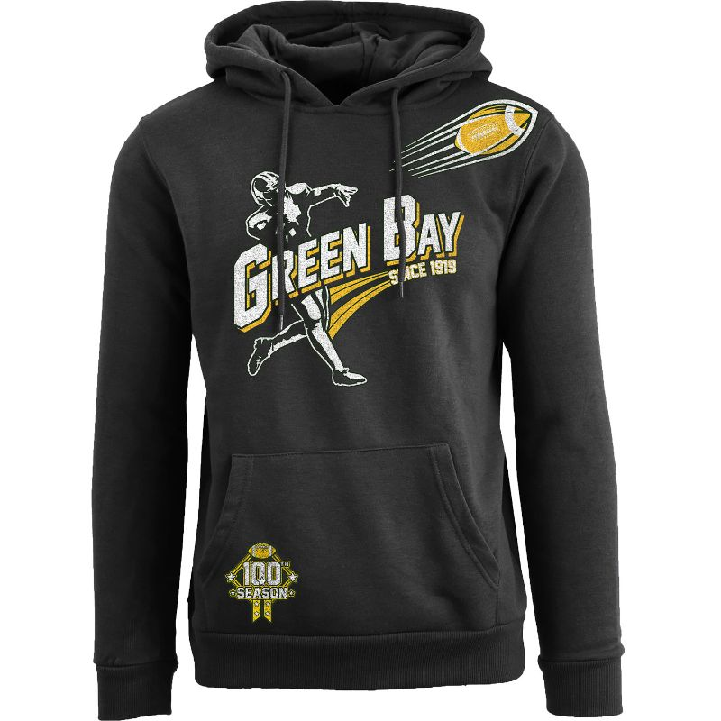 Men's Ballers Football Pull Over Hoodie-Green Bay - Black-S-Daily Steals