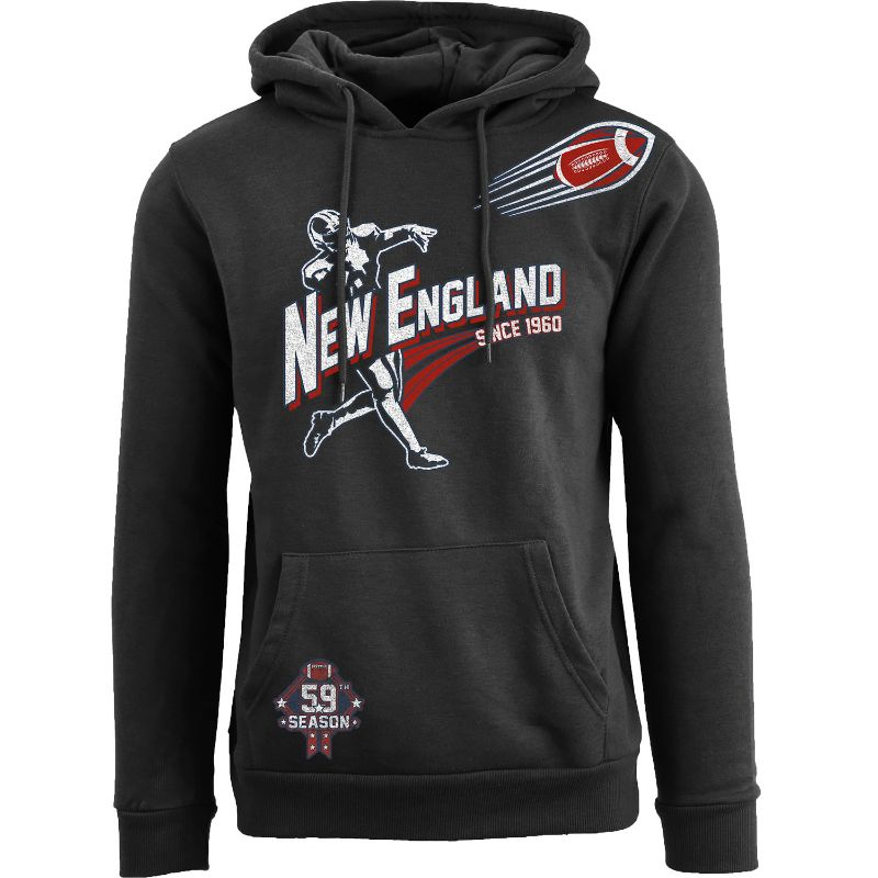 Men's Ballers Football Pull Over Hoodie-New England - Black-S-Daily Steals