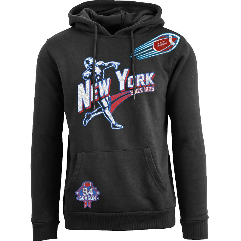 Men's Ballers Football Pull Over Hoodie-New York - Black-L-Daily Steals