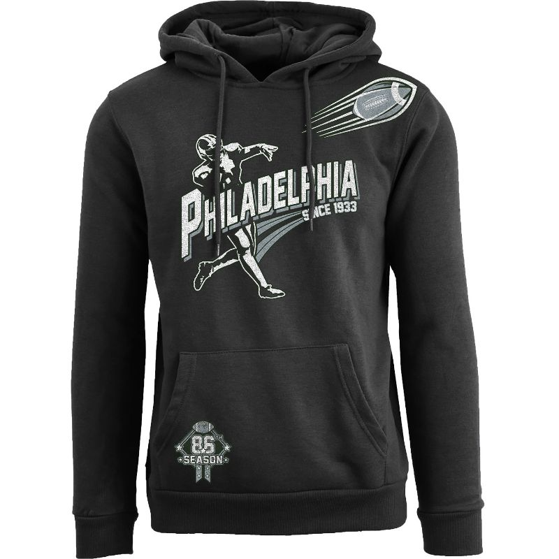 Men's Ballers Football Pull Over Hoodie-Philadelphia - Black-S-Daily Steals
