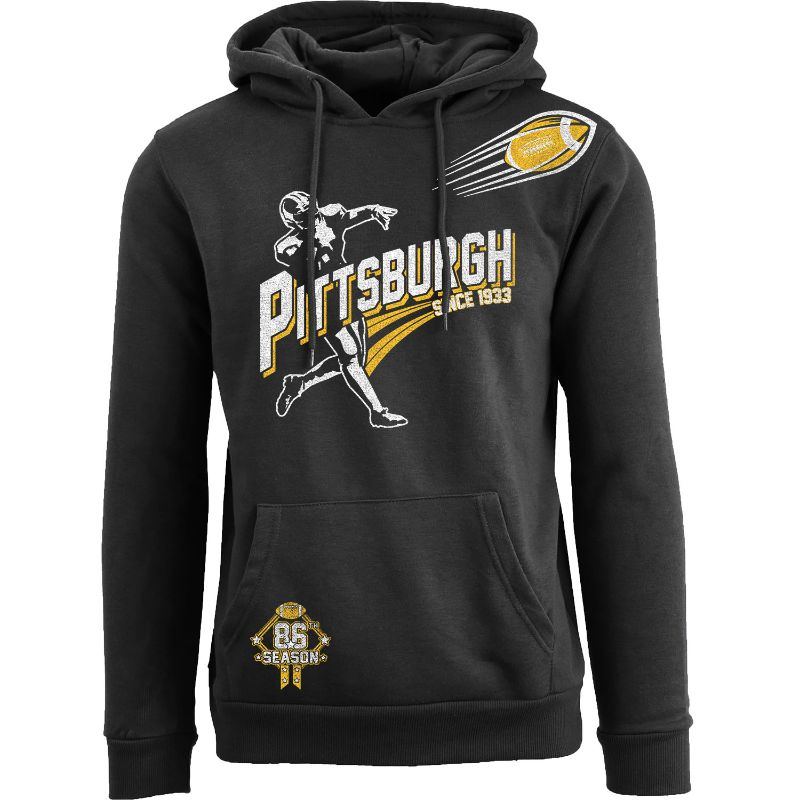 Men's Ballers Football Pull Over Hoodie-Pittsburgh - Black-S-Daily Steals