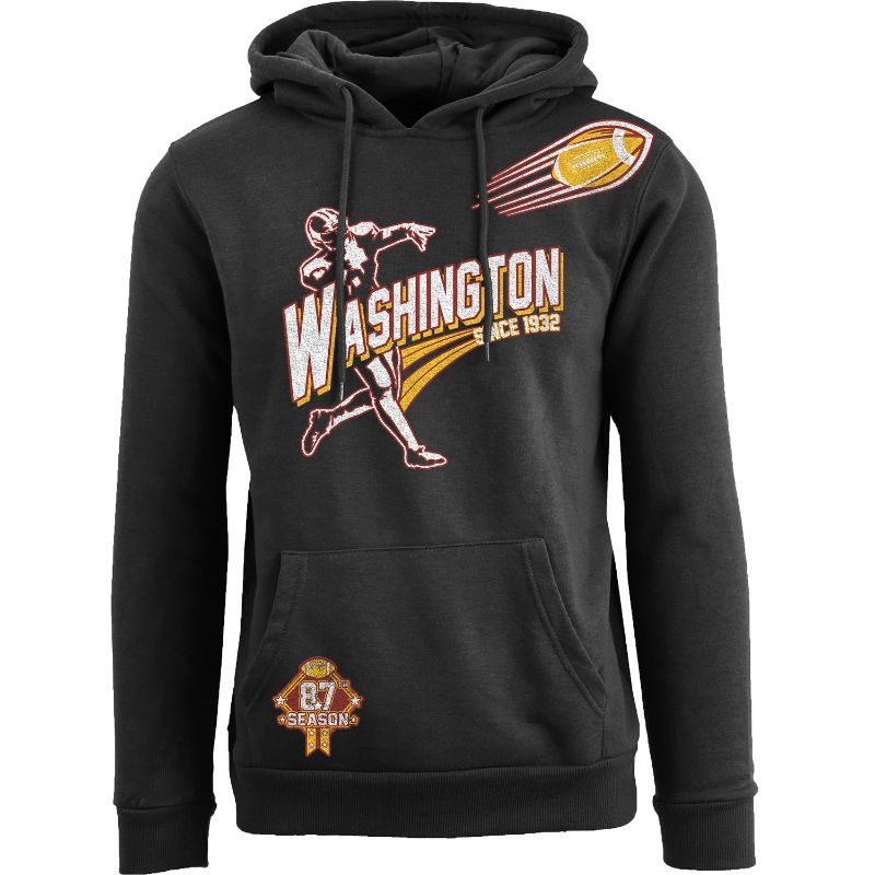 Men's Ballers Football Pull Over Hoodie-Washington - Black-S-Daily Steals
