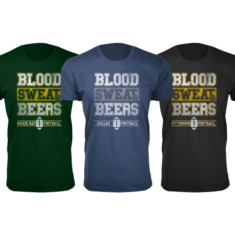 Men's Blood Sweat & Beers Football Cotton T-Shirts-Daily Steals