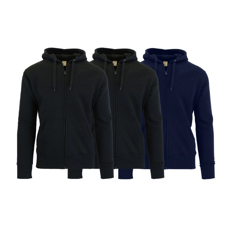Men's Fleece-Lined Zip Sweater Hoodie - 3 Pack-Black & Black & Navy-S-Daily Steals