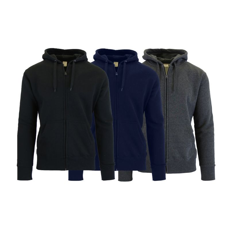Men's Fleece-Lined Zip Sweater Hoodie - 3 Pack-Black & Charcoal & Navy-S-Daily Steals