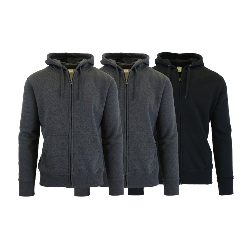 Men's Fleece-Lined Zip Sweater Hoodie - 3 Pack-Charcoal & Charcoal & Black-S-Daily Steals