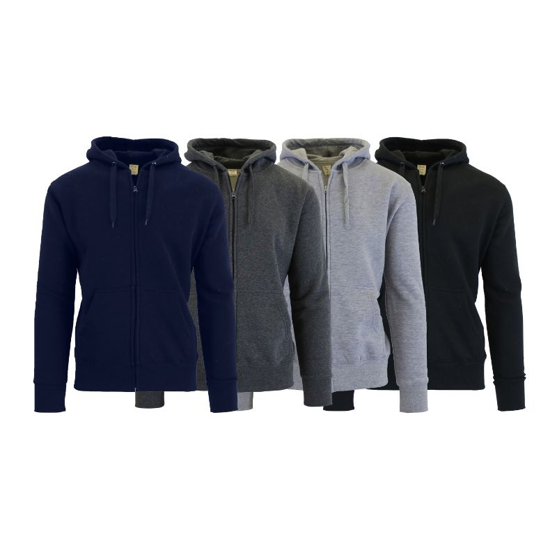 Men's Fleece-Lined Zip Sweater Hoodie - 3 Pack-Daily Steals