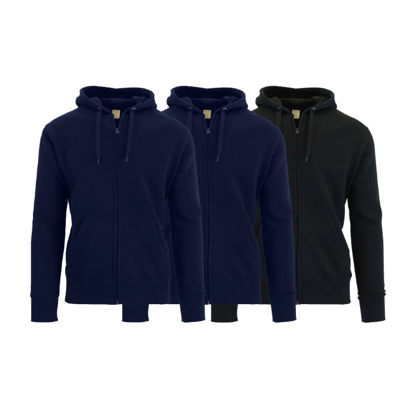 Men's Fleece-Lined Zip Sweater Hoodie - 3 Pack-Navy & Navy & Black-S-Daily Steals