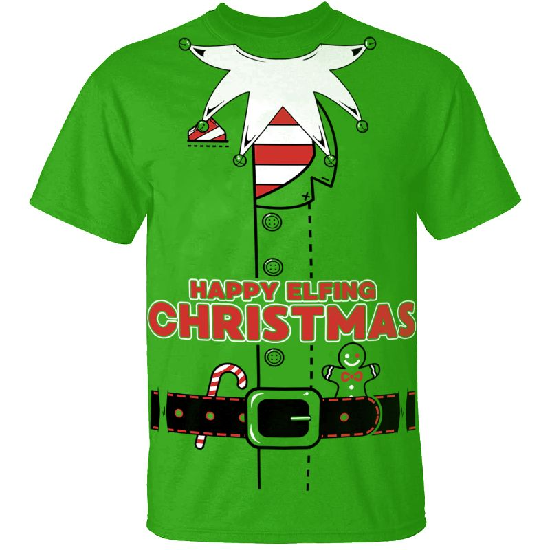 Men's Funny Christmas Suit T-Shirts-Elf Suit - Kelly Green-S-Daily Steals