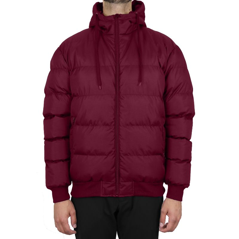 Men's Heavyweight Bubble Bomber Jacket-Burgundy-Small-Daily Steals