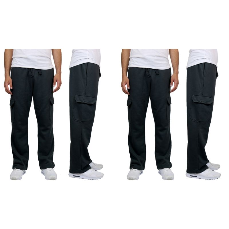 Men's Heavyweight Cargo Fleece Sweatpants - 2 Pack-Black & Black-M-Daily Steals