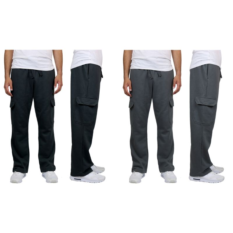 Men's Heavyweight Cargo Fleece Sweatpants - 2 Pack-Black & Charcoal-M-Daily Steals
