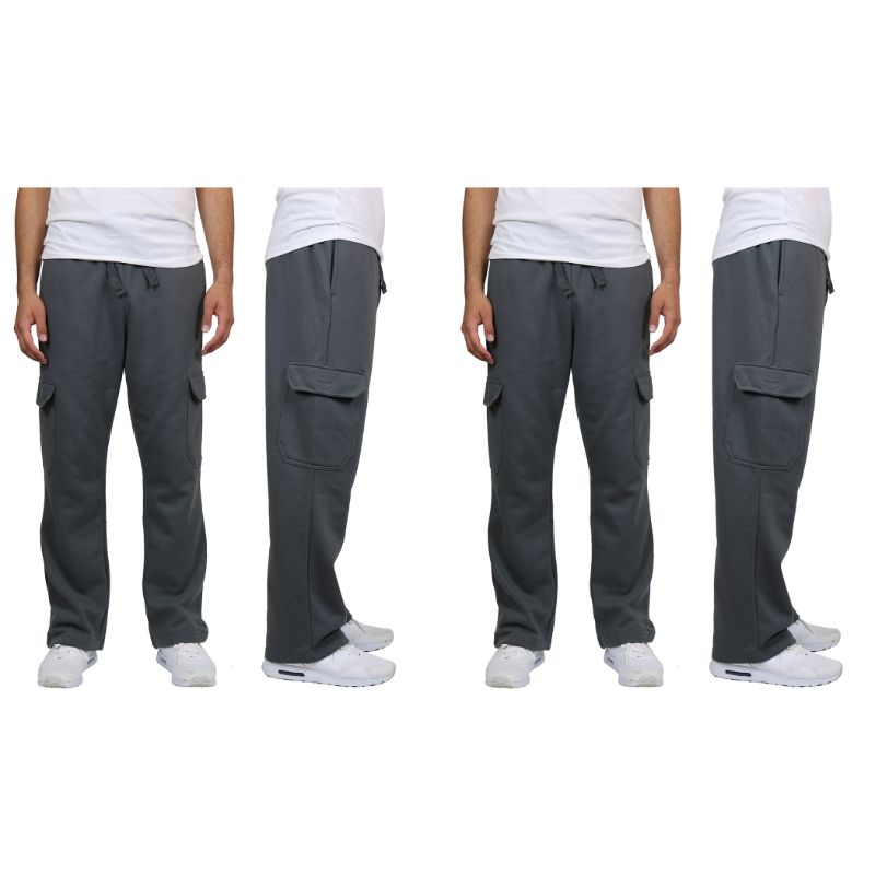 Men's Heavyweight Cargo Fleece Sweatpants - 2 Pack-Charcoal & Charcoal-L-Daily Steals