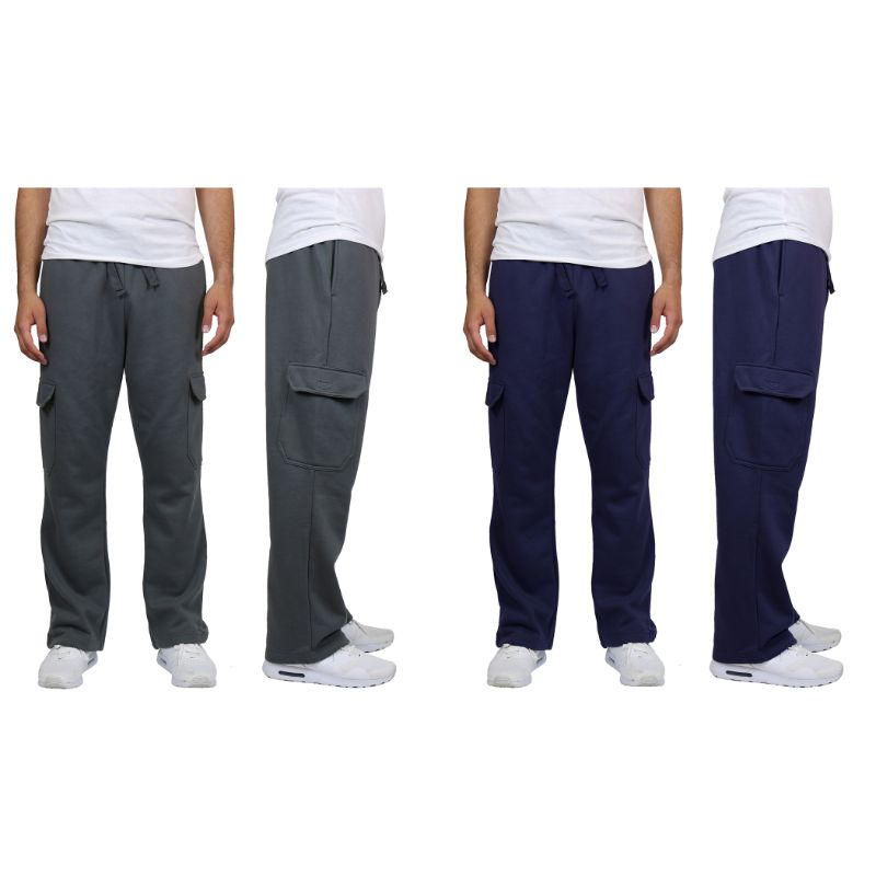 Men's Heavyweight Cargo Fleece Sweatpants - 2 Pack-Navy & Charcoal-M-Daily Steals