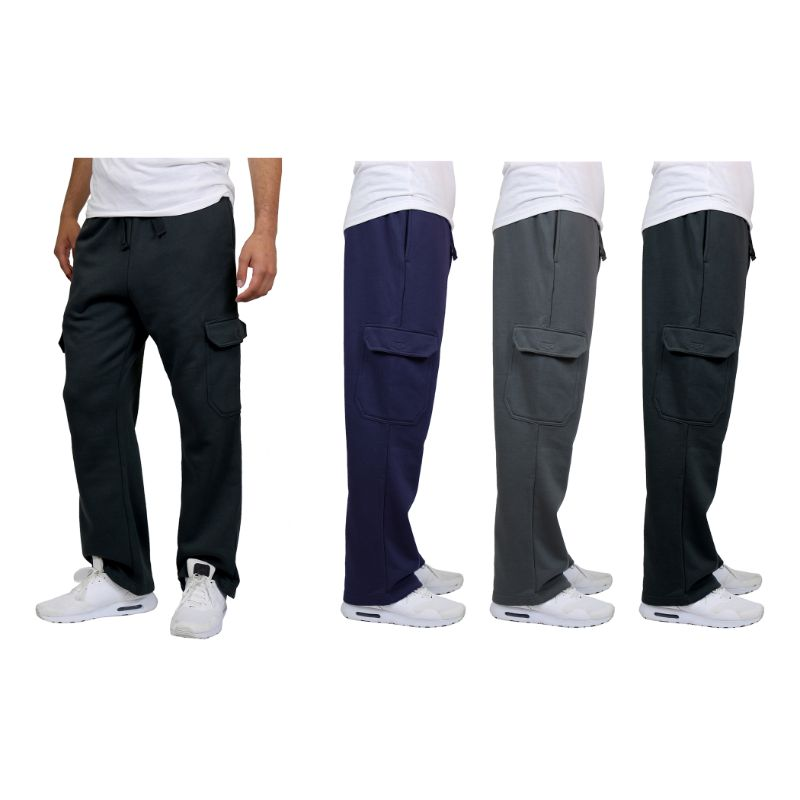 Men's Heavyweight Cargo Fleece Sweatpants - 2 Pack-Daily Steals