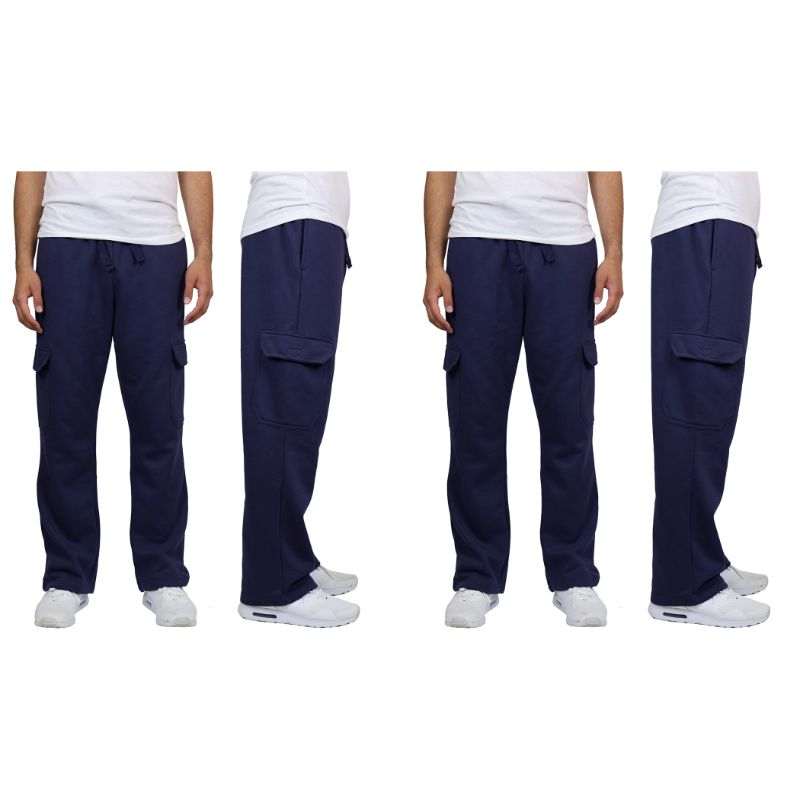 Men's Heavyweight Cargo Fleece Sweatpants - 2 Pack-Navy & Navy-M-Daily Steals