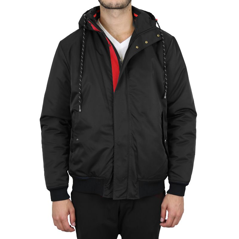 Men's Heavyweight Classic Hooded Windproof Bomber Jacket-Black-Small-Daily Steals
