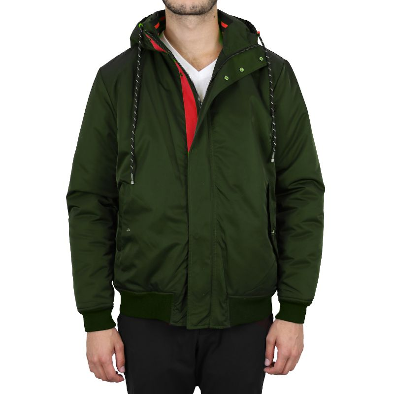 Men's Heavyweight Classic Hooded Windproof Bomber Jacket-Dark Olive-Small-Daily Steals