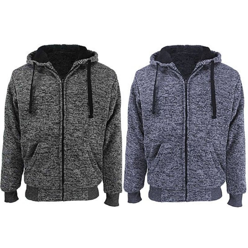 Men's Marled Extra-Thick Sherpa-Lined Fleece Hoodies - 2 Pack
