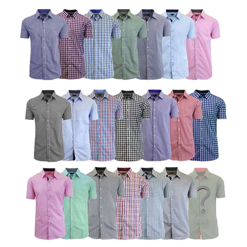 Men's Mystery Dress Shirt - Short or Long-Sleeve Options-S-Short Sleeve-Daily Steals