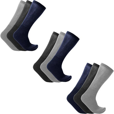 Daily Steals-Men's or Women's Diabetic Crew Socks - 9 Pairs-Accessories-Assorted-Male-