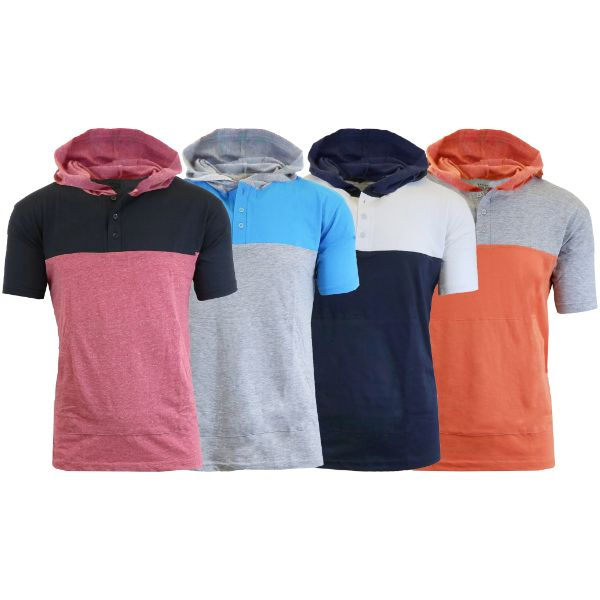 Men's Short Sleeve Henley Pullover Hoodie - 4 Pack-Medium-Daily Steals