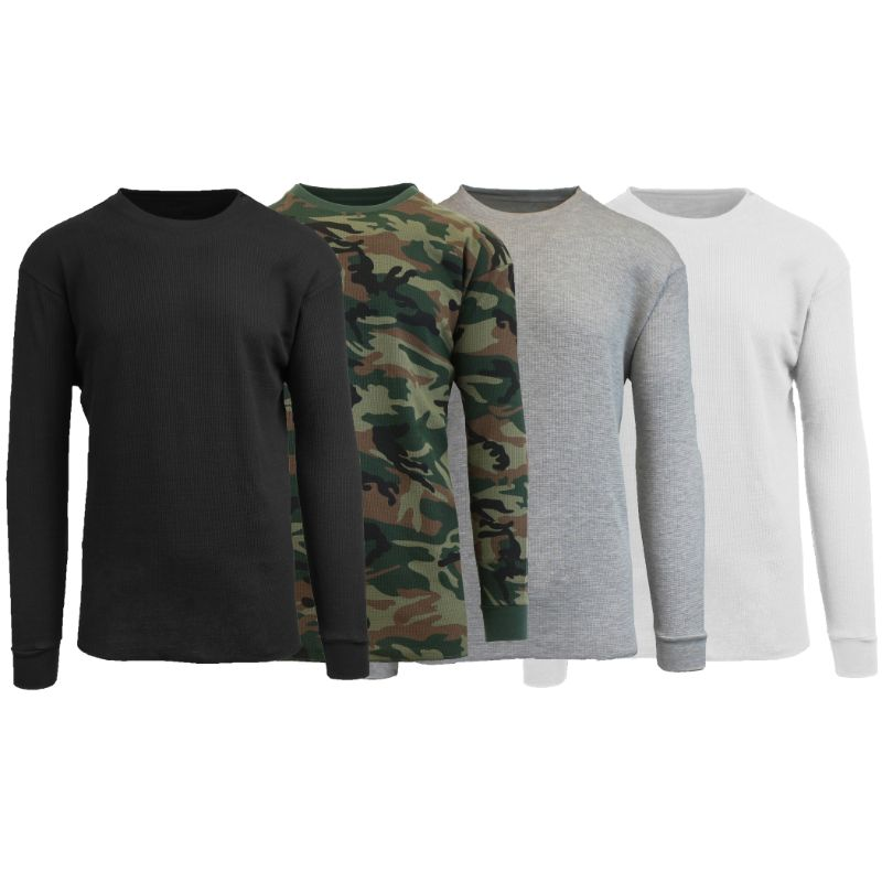 Men's Waffle Knit Thermal Long Sleeves - 4 Pack-Black-Camo-Heather Grey-White-S-Daily Steals