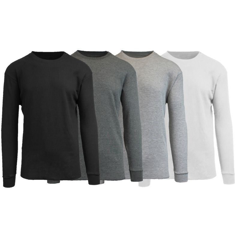 Men's Waffle Knit Thermal Long Sleeves - 4 Pack-Black-Charcoal-Heather Grey-White-3XL-Daily Steals