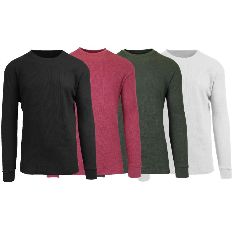 Men's Waffle Knit Thermal Long Sleeves - 4 Pack-Black-Heather Burgundy-Heather Olive-White-S-Daily Steals