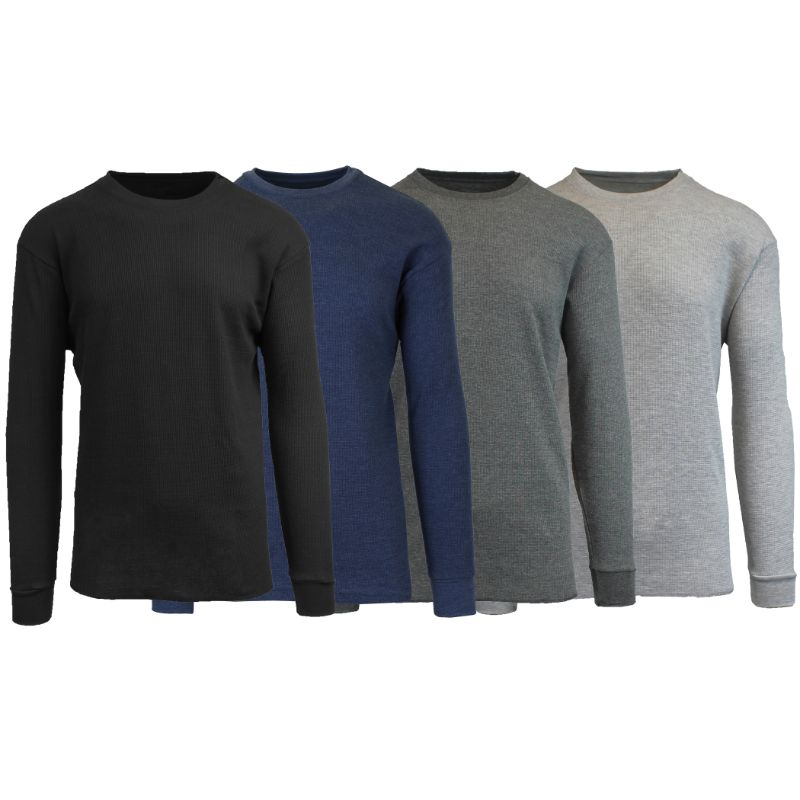 Men's Waffle Knit Thermal Long Sleeves - 4 Pack-Black-Heather Navy-Charcoal-Heather Grey-S-Daily Steals