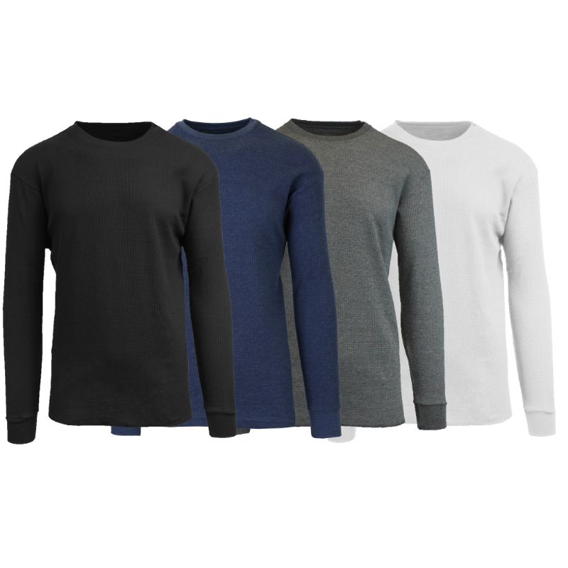 Men's Waffle Knit Thermal Long Sleeves - 4 Pack-Black-Heather Navy-Charcoal-White-L-Daily Steals