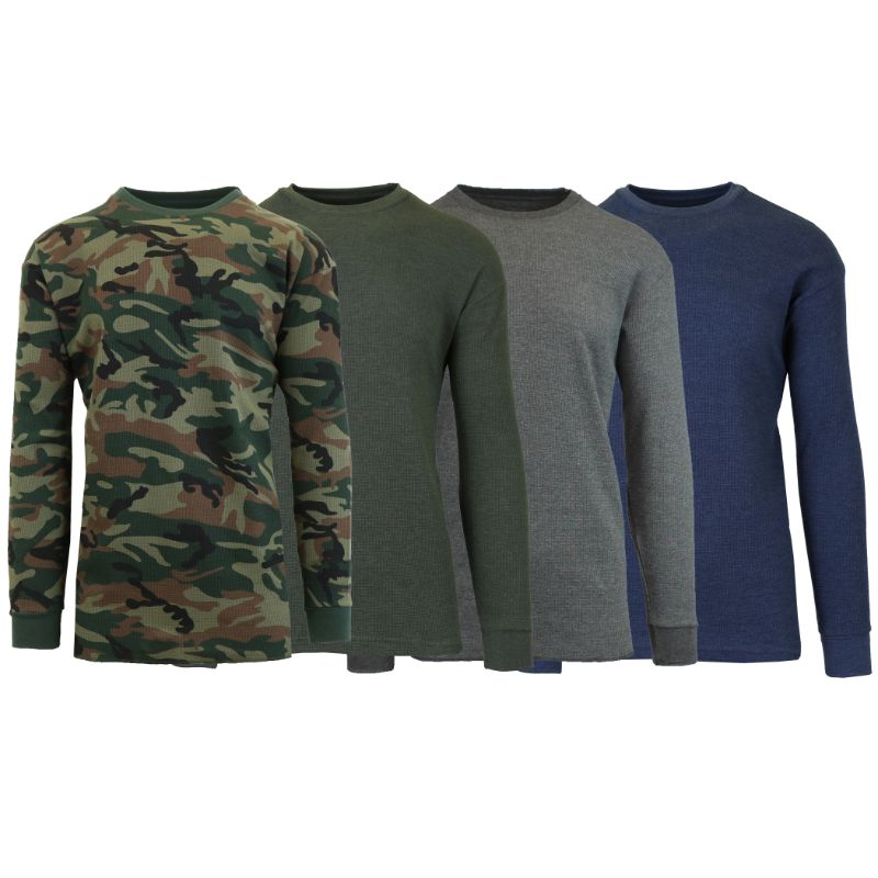 Men's Waffle Knit Thermal Long Sleeves - 4 Pack-Camo-Heather Olive-Charcoal-Heather Navy-L-Daily Steals