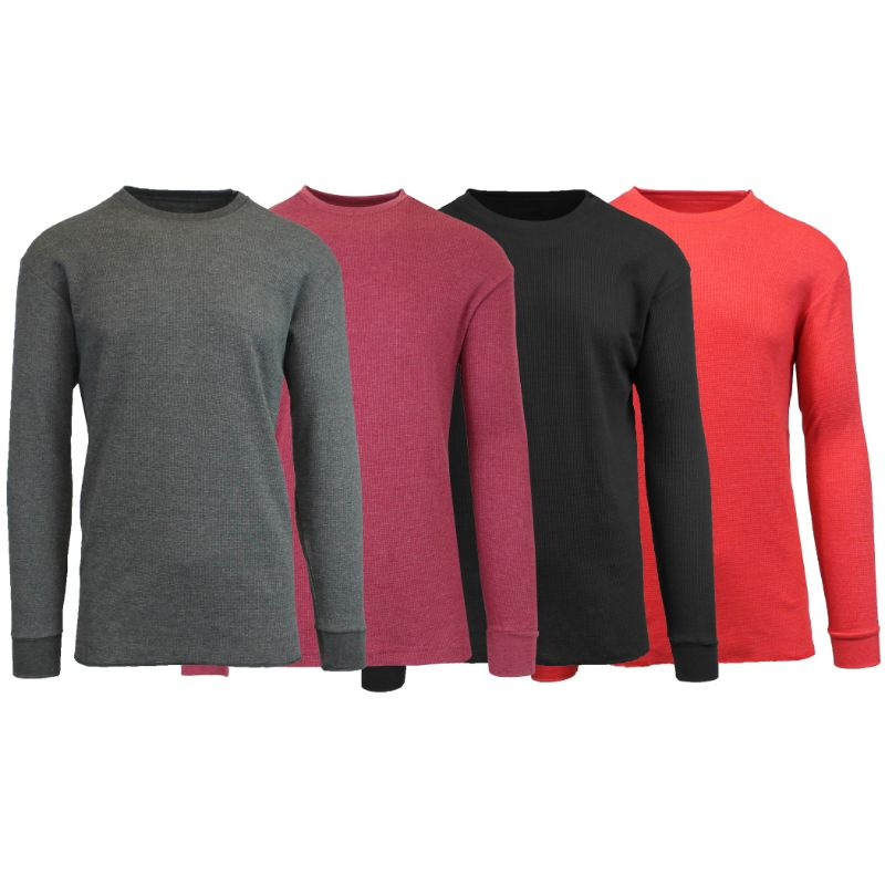 Men's Waffle Knit Thermal Long Sleeves - 4 Pack-Charcoal-Heather Burgundy-Black-Heather Red-S-Daily Steals