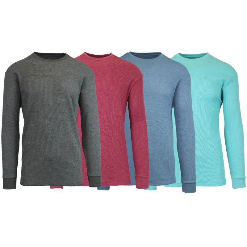 Men's Waffle Knit Thermal Long Sleeves - 4 Pack-Charcoal-Heather Burgundy-Heather Medium Blue-Heather Mint-S-Daily Steals