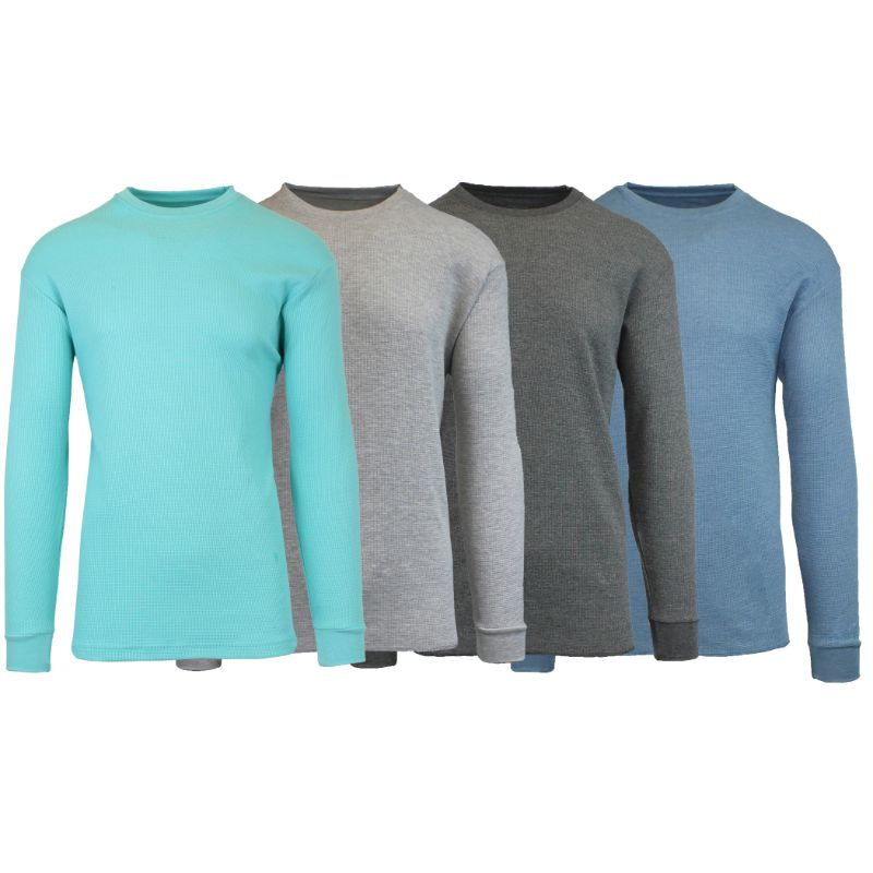 Men's Waffle Knit Thermal Long Sleeves - 4 Pack-Heather Mint-Heather Grey-Charcoal-Heather Medium Blue-S-Daily Steals