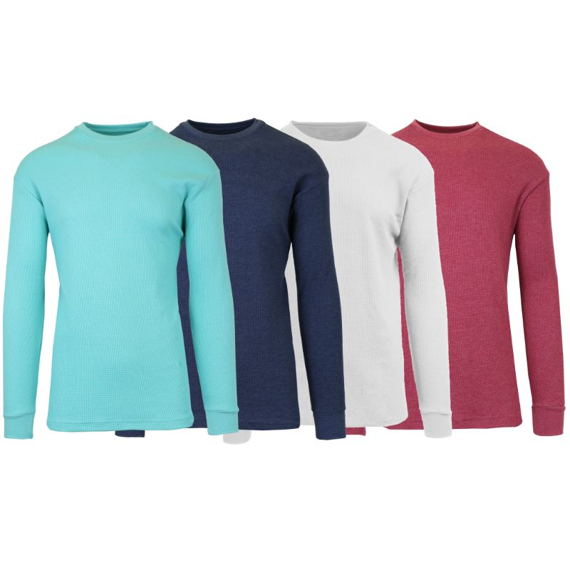 Men's Waffle Knit Thermal Long Sleeves - 4 Pack-Heather Mint-Heather Navy-White-Heather Burgundy-S-Daily Steals