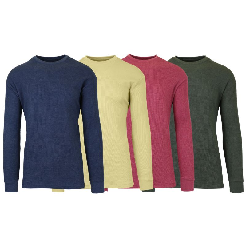 Men's Waffle Knit Thermal Long Sleeves - 4 Pack-Heather Navy-Khaki-Heather Burgundy-Heather Olive-S-Daily Steals