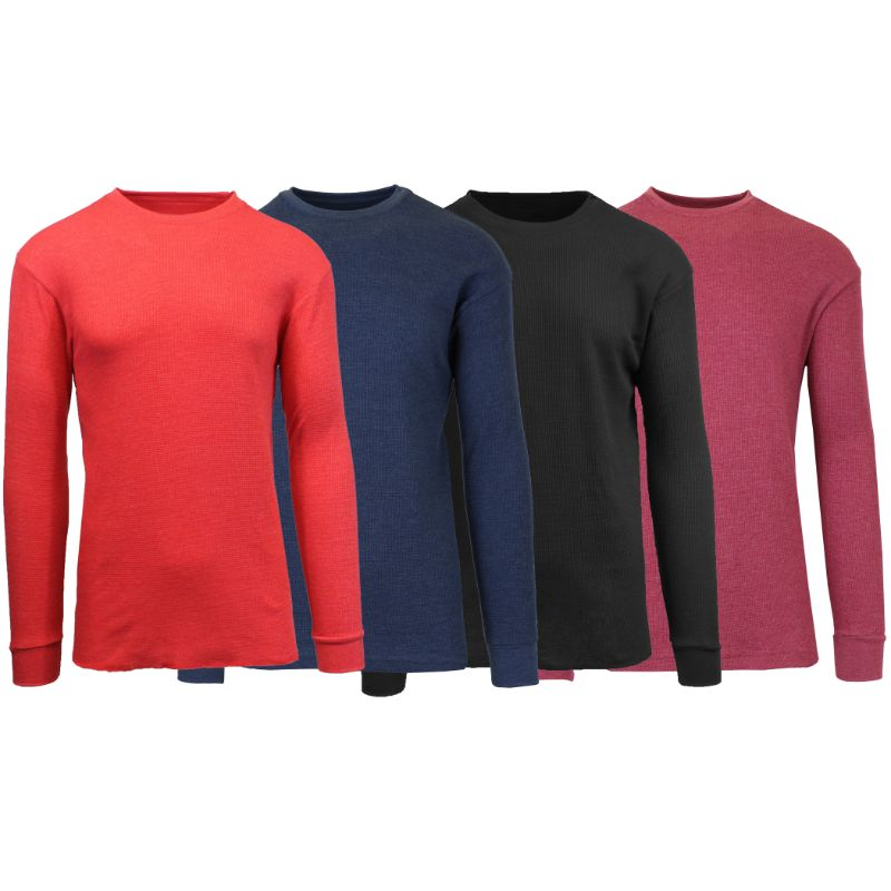 Men's Waffle Knit Thermal Long Sleeves - 4 Pack-Heather Red-Heather Navy-Black-Heather Burgundy-S-Daily Steals