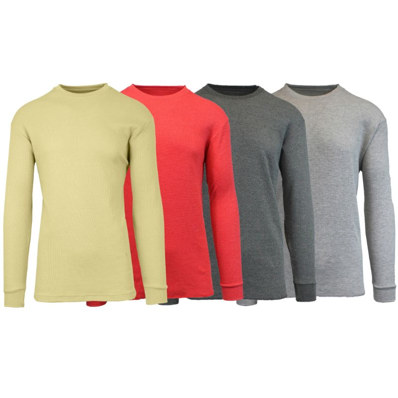 Men's Waffle Knit Thermal Long Sleeves - 4 Pack-Khaki-Heather Red-Charcoal-Heather Grey-S-Daily Steals
