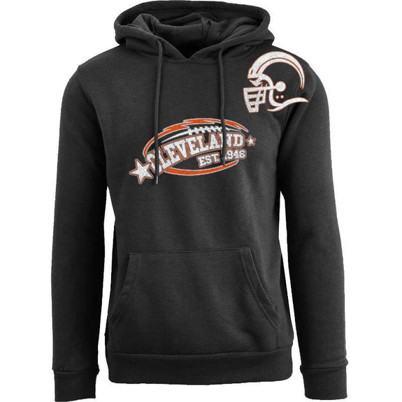 Men's All-Star Football Pull Over Hoodie-Cleveland - Black-S-Daily Steals