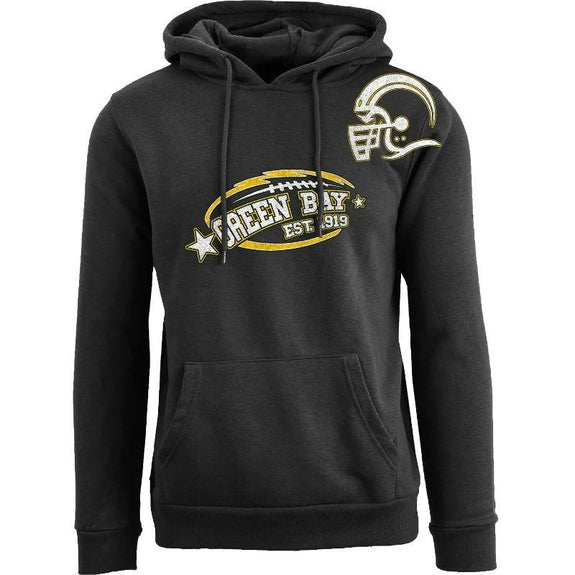 Men's All-Star Football Pull Over Hoodie-Green Bay - Black-S-Daily Steals