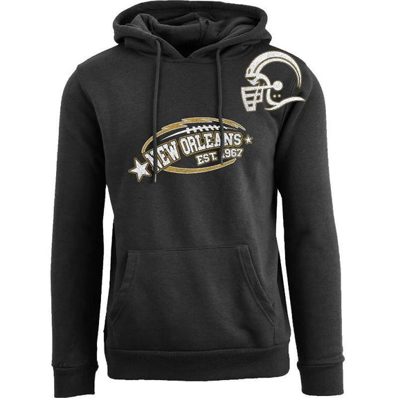 Men's All-Star Football Pull Over Hoodie-New Orleans - Black-S-Daily Steals