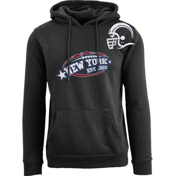 Men's All-Star Football Pull Over Hoodie-New York - Black-S-Daily Steals
