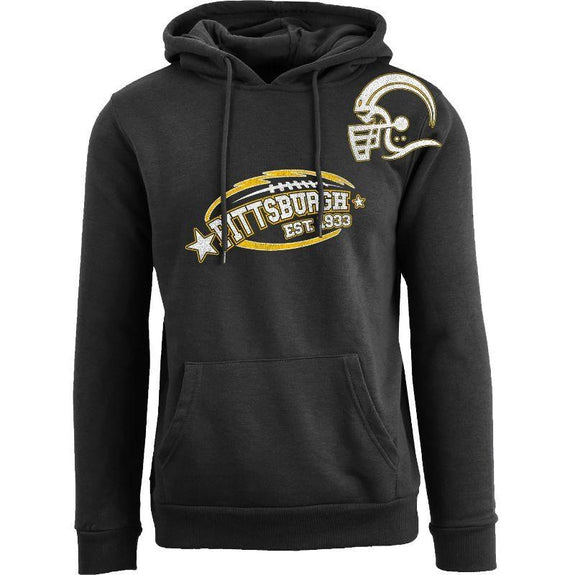Men's All-Star Football Pull Over Hoodie-Pittsburgh - Black-S-Daily Steals