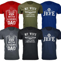 Men's Best and Funniest Father's Day T-Shirts Ever - Several Styles-Black-My Wife Says I Only have 2 Flaws-S